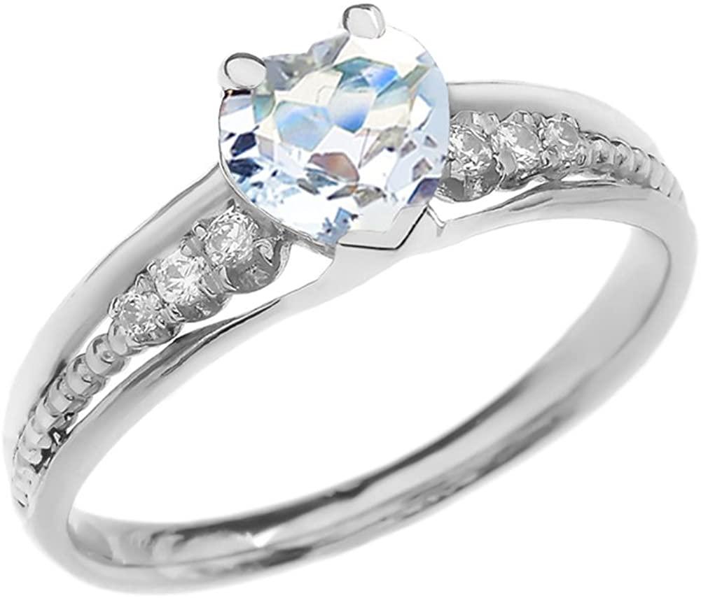 Dazzling 10k White Gold Diamond And Aquamarine Birthstone Heart Beaded Promise Ring