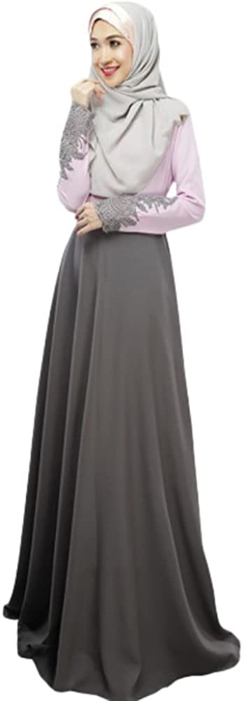 Aro Lora Women's Kaftan Abaya Jilbab Islamic Muslim Long Sleeve Maxi Dress