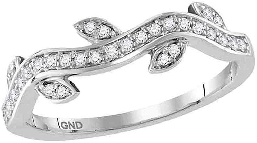 Diamond Vine Floral Fashion Ring Stackable Band Style 1/6ct 10k White Gold