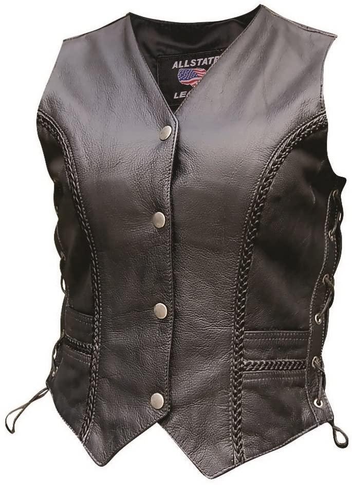Womens AL2315 Braided front & back vest Medium Black