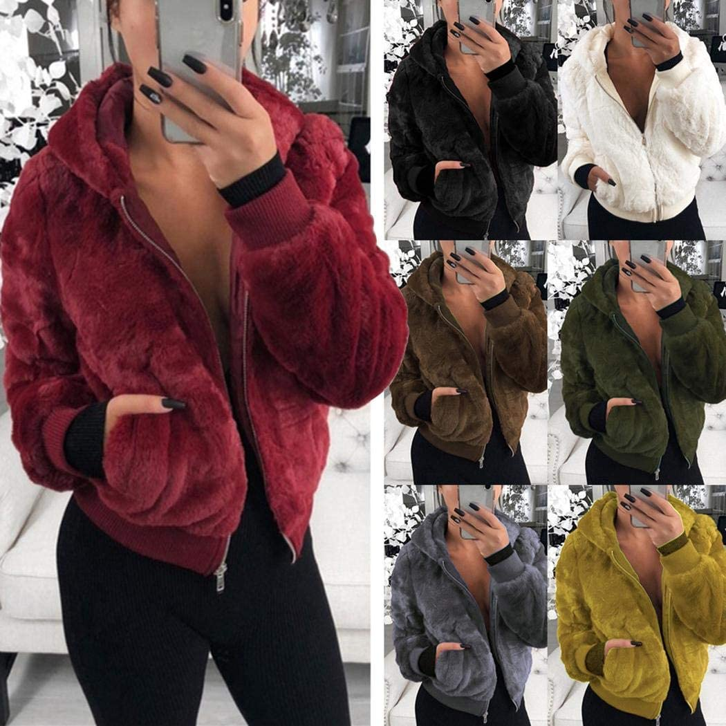 Langle Women Fashion Solid Hooded Coat Winter Zipper Slim Outwear with Pockets Faux Fur
