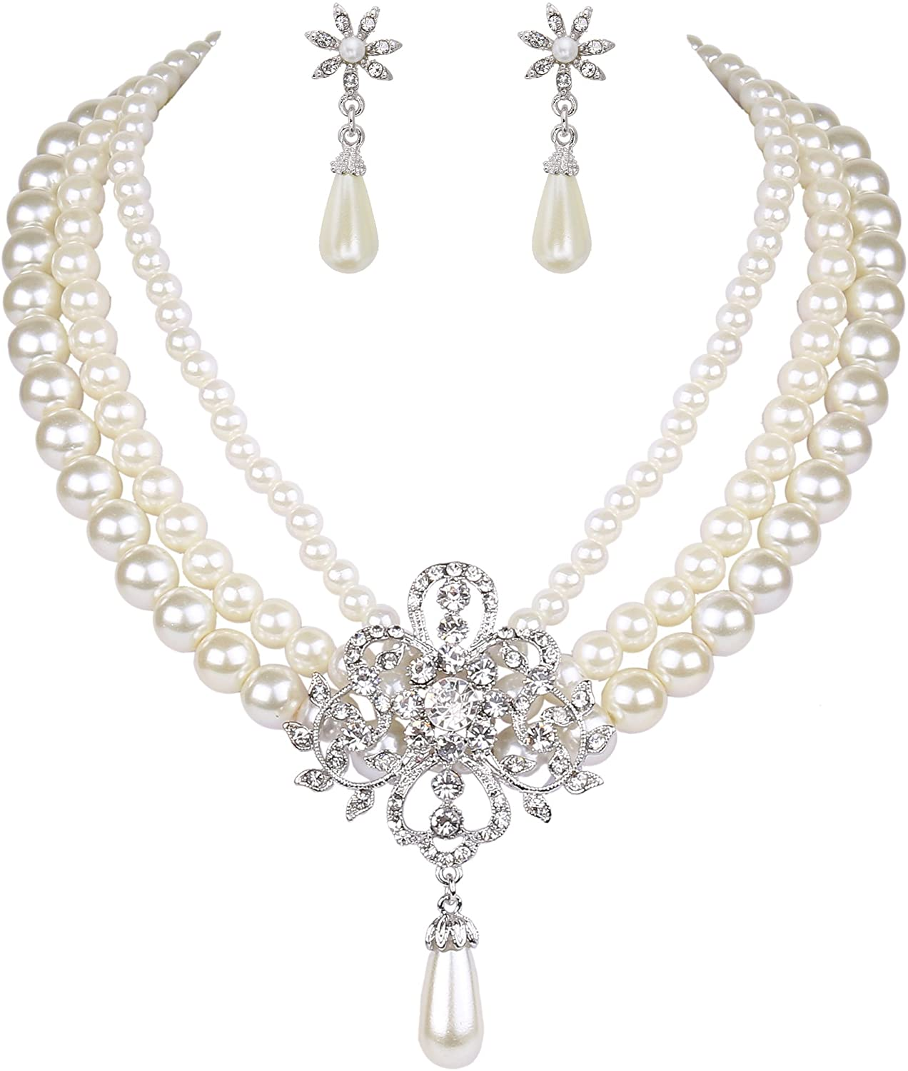 EleQueen Women's Silver-Tone Ivory Simulated Pearls Crystal Victorian Style Statement Necklace Earrings Bridal Wedding Sets