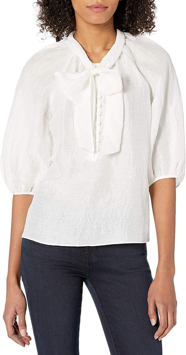 Rebecca Taylor Womens Puff Sleeve Blouse with Tie at Neckline
