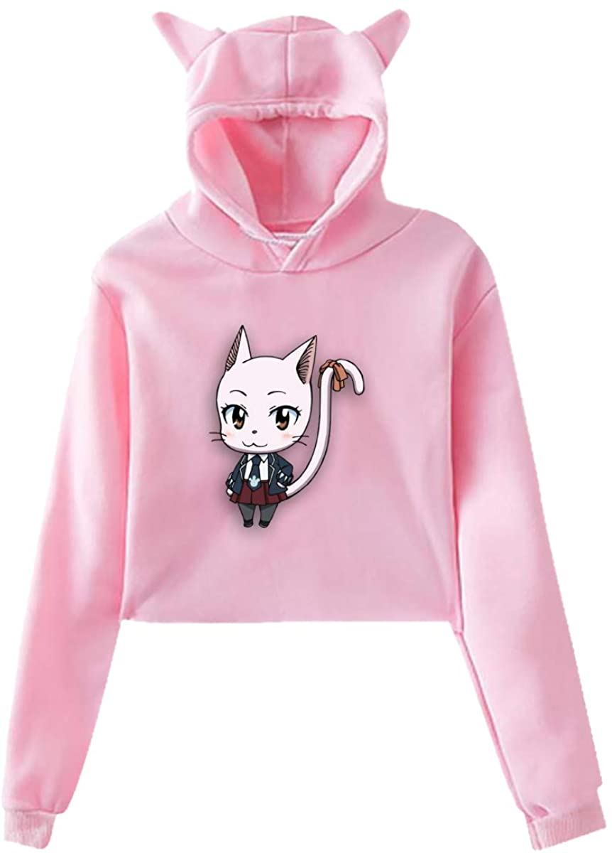 Tiancun Black Sweet Cat's Ears Hoodies Carla Leak Navel Cro Top Sweatshirt Women's Hoodies