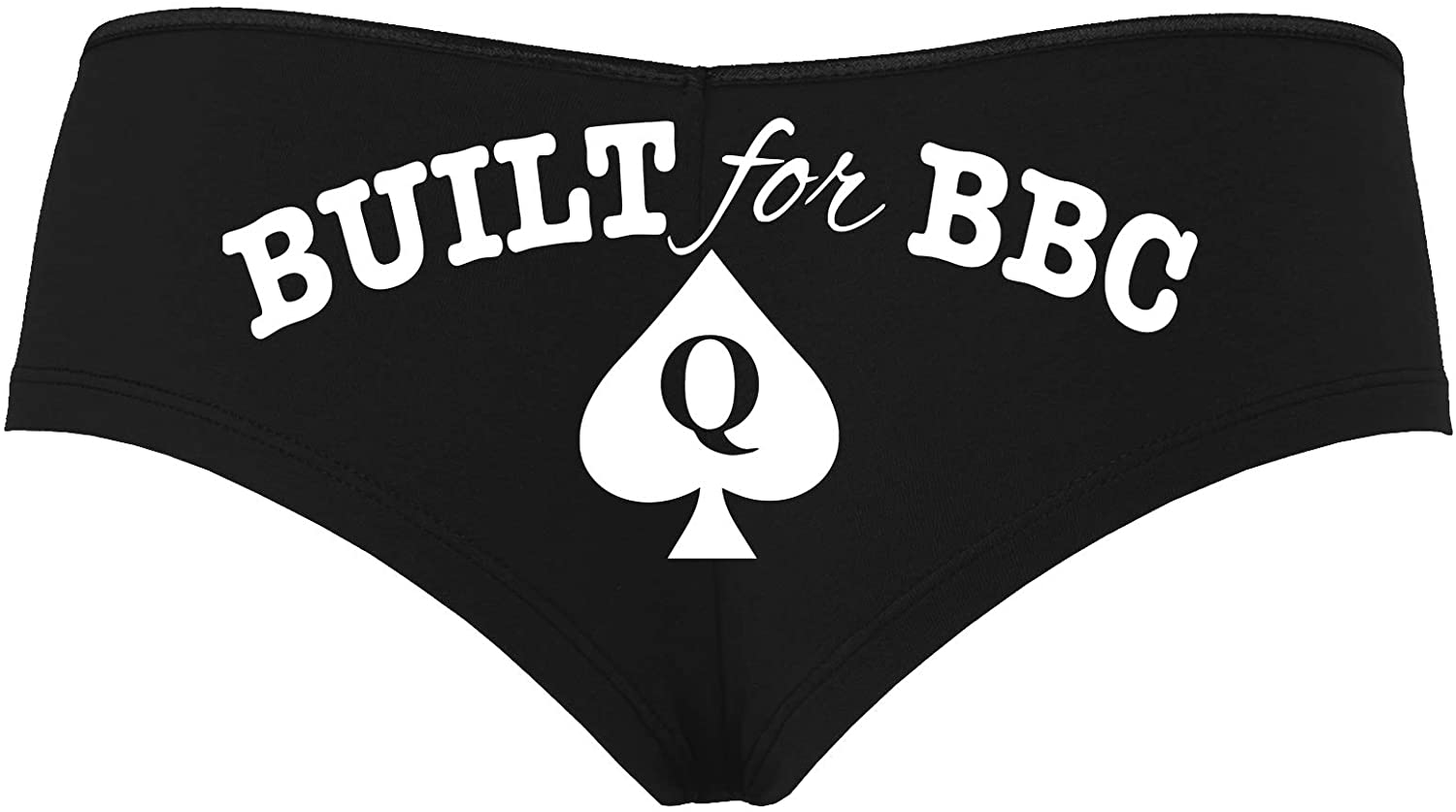 Knaughty Knickers Built for BBC PAWG Queen of Spades QOS Black Boyshort Panties