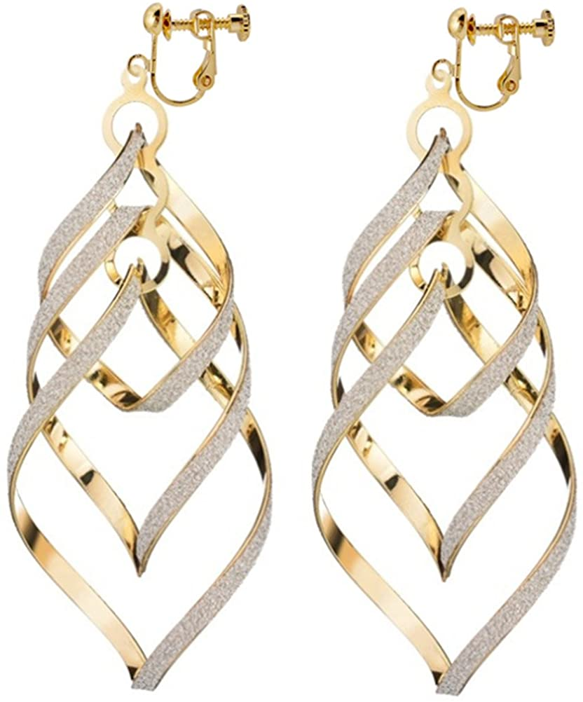 Bohemian Twist Leaf Clip On Earrings Spiral Linear Exquisite Deco Dangle Drop Casual Gift
