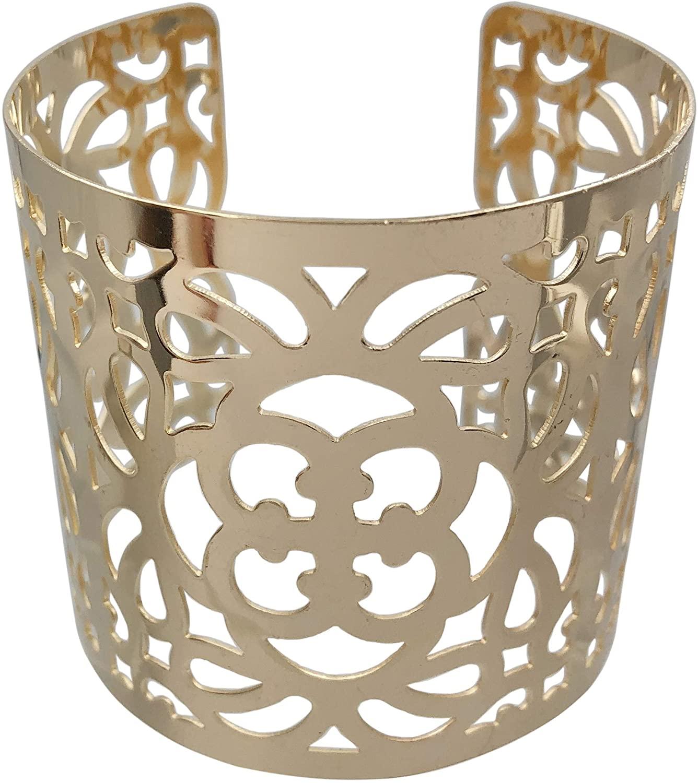Gypsy Jewels Filigree Cut-Out Statement Wide Large Cuff Metal Bangle Bracelet