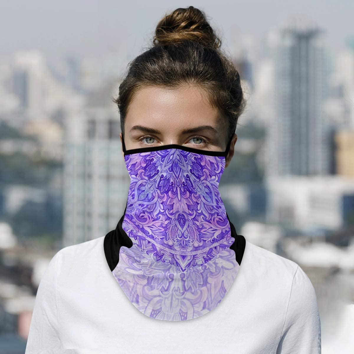 Watercolor Mandala Neck Gaiter Ear Loops Face Cover Summer Ice Silk Face Bandana Mouth Mask Scarf for Sun Wind Dust Proof Outdoor Hiking Cycling