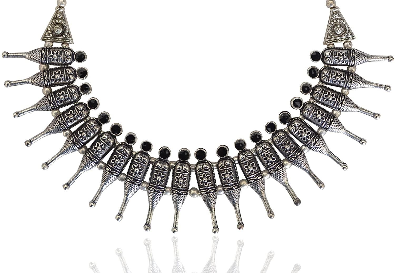 Sansar India Oxidized Kolhapuri Choker Indian Necklace Jewelry for Girls and Women