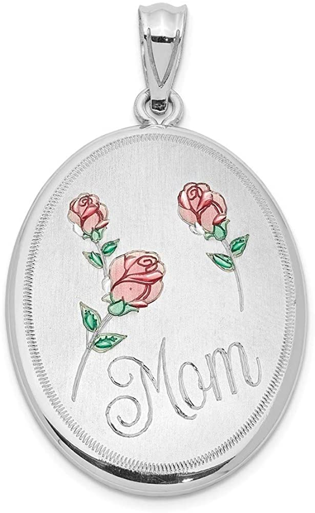 Sterling Silver Rhodium-plated Brush & Polished Mom Enamel Oval Open Locket Pendant