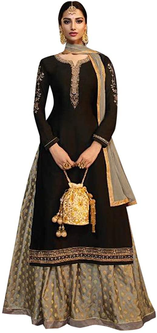 Hit Indian Black Satin Georgette Suit Sharara Gharara Lehenga Eid Festive Party Cocktail Wedding Wear Ethnic Semi Stitched 8779