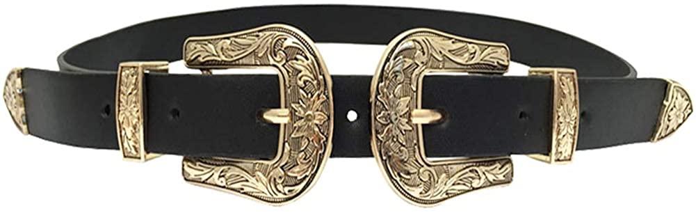 Women's Belt Western Vintage Style Genuine Leather Belt Two Buckles Waist Belts for Jeans Dress Pants Black