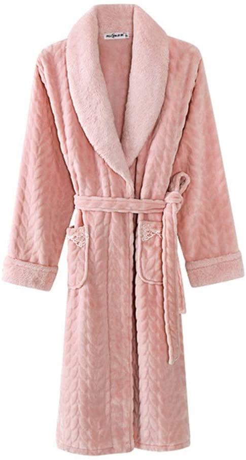 EMGOD Women's Coral Fleece Nightgown, Ladies' Autumn and Winter Long Thick Warm Bathrobe,Pink,XXXL