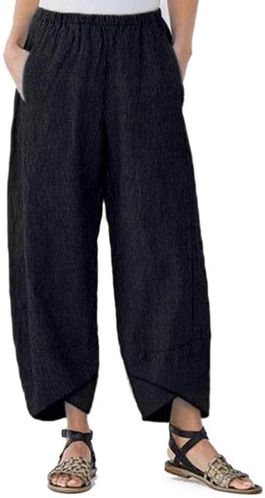 kaiCran Women's Linen Pants Elastic Waist Relax Fit Lantern Cropped Pants Trousers with Pocket