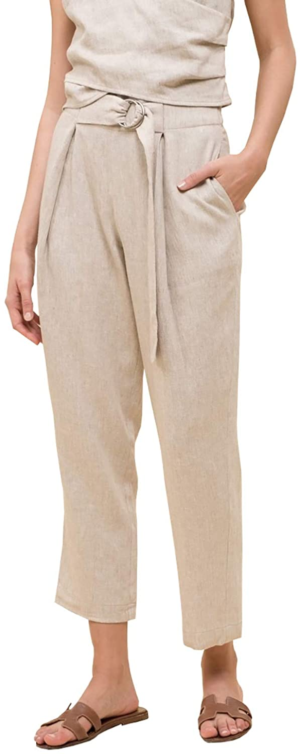 MOON RIVER Women's Linen Buckle Waist Tie Pant