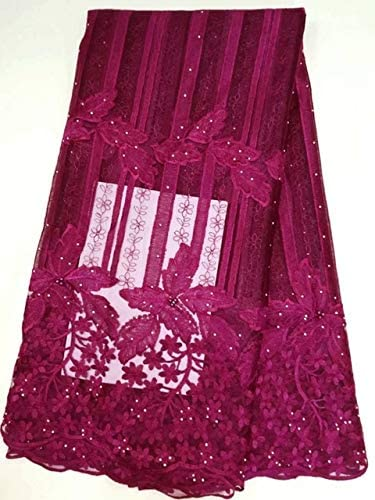 Lace - Latest Nigerian Wine Red Laces Fabrics African Laces Fabric for Wedding Dress French Tulle Lace ZJ018 - (Color: As Picture)