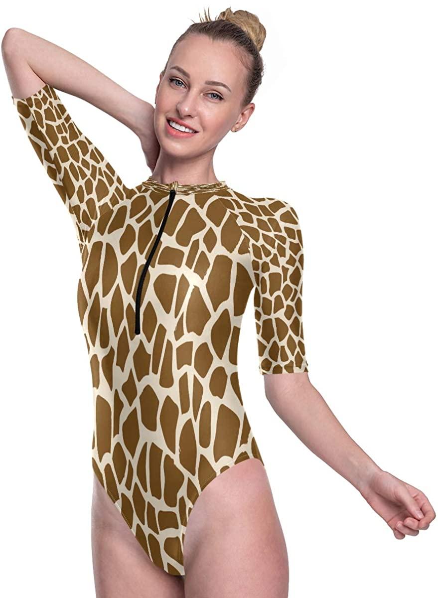 SLHFPX Women's One Piece Short Sleeve Rashguard Surf Swimsuit Giraffe Skin Bathing Suit
