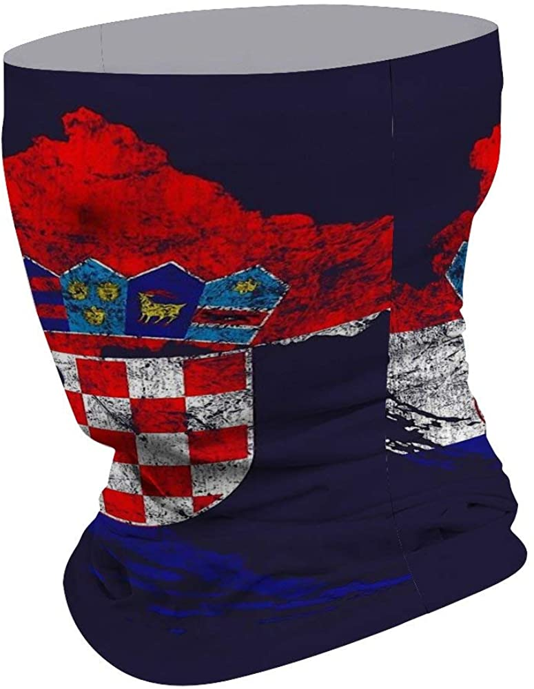 Croatia Flag And Map Croatian Pride Face Mask for Dust Wind Sun Protection Seamless 3D Tube Mask Bandana for Men Women Durable Thin Breathable Mouth Cover Motorcycle