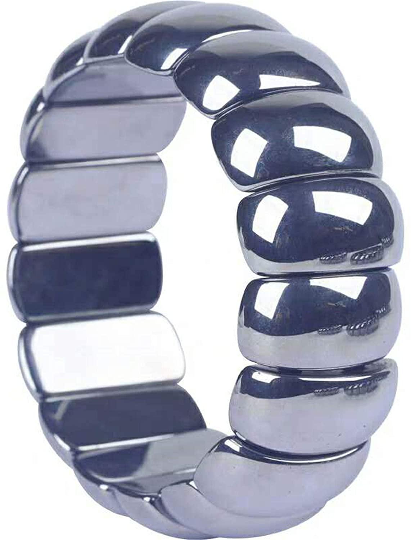 Genuine Natural Terahertz Wave Hematite Rectangle Bead Woman Men Power Bangle Bracelet 24×12mm