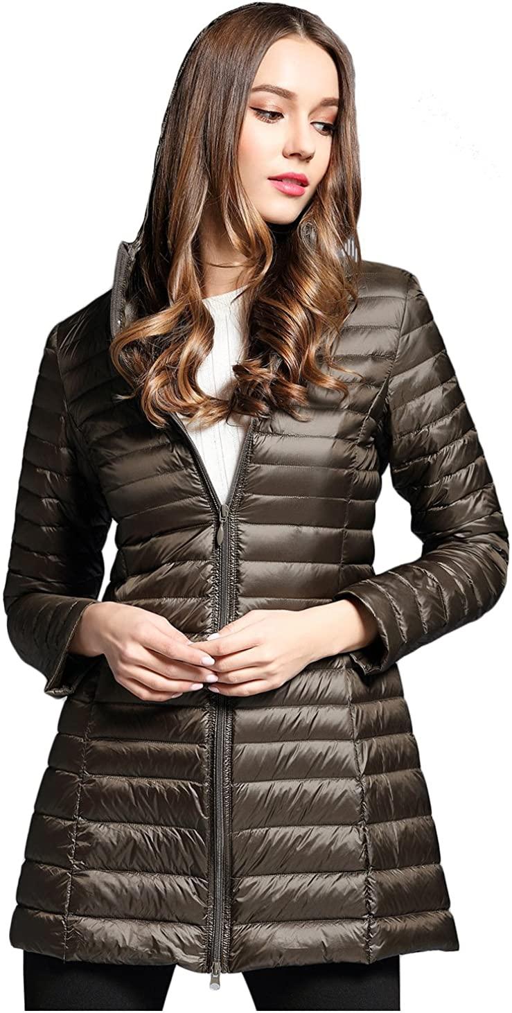 Elezay Womens Light Weight Down Jacket Hooded Coat Brown 2XS