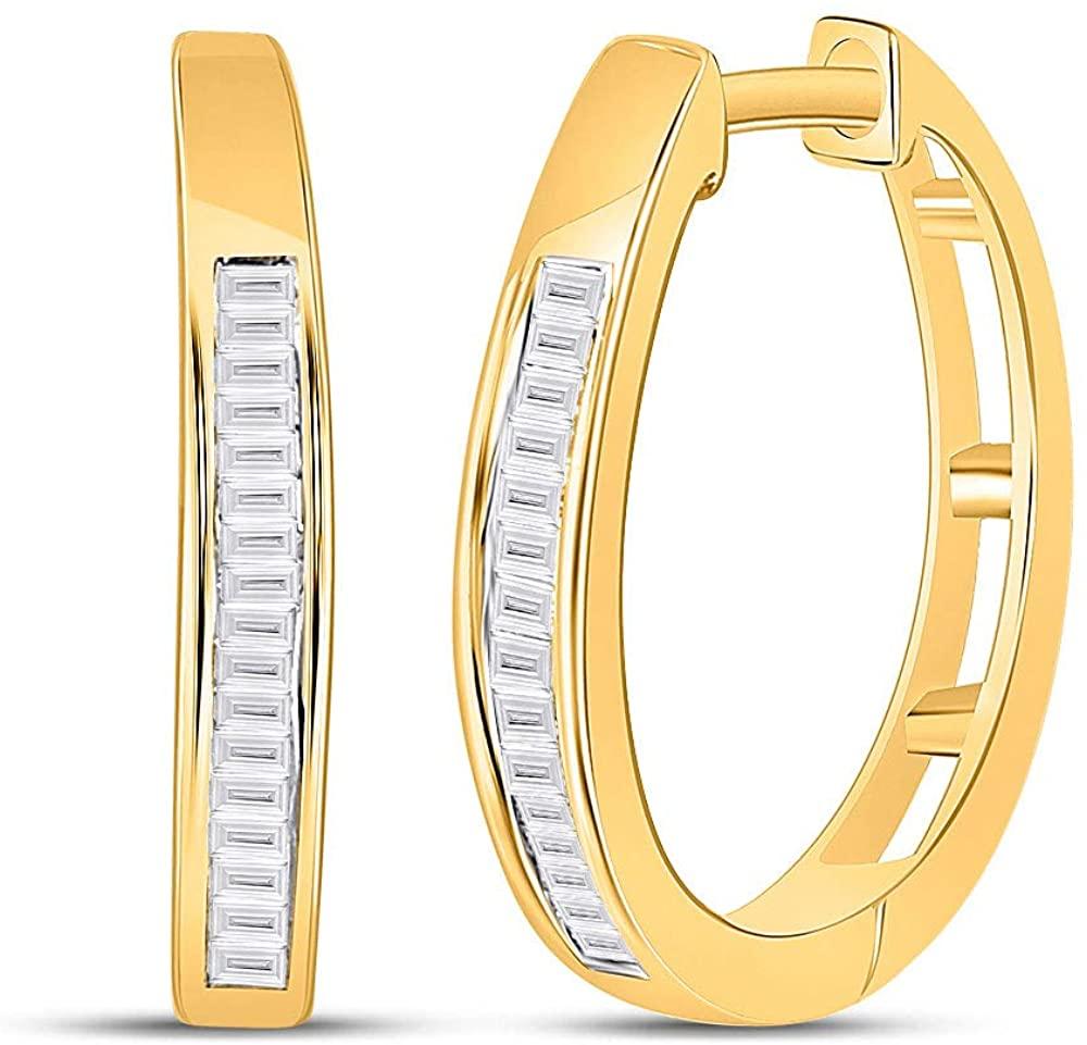 Dazzlingrock Collection 10kt Yellow Gold Womens Baguette Diamond Hoop Earrings 1/5 Cttw