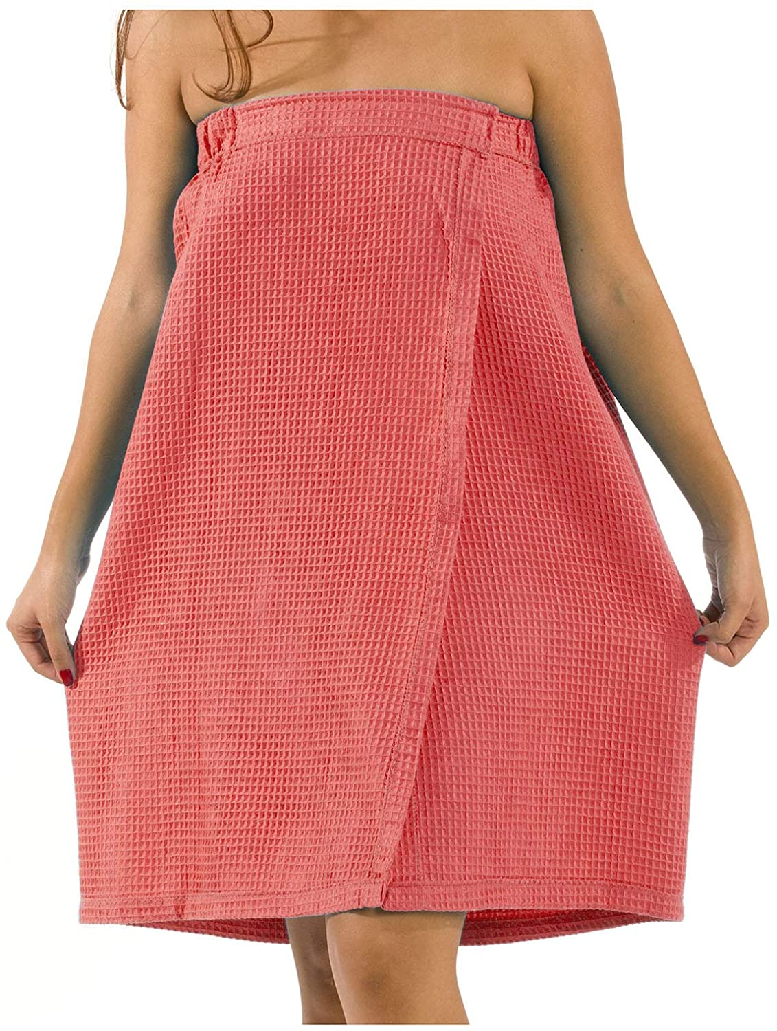 BY LORA Women Waffle Shower Spa Wrap, Waffle Cover up Towel, Coral