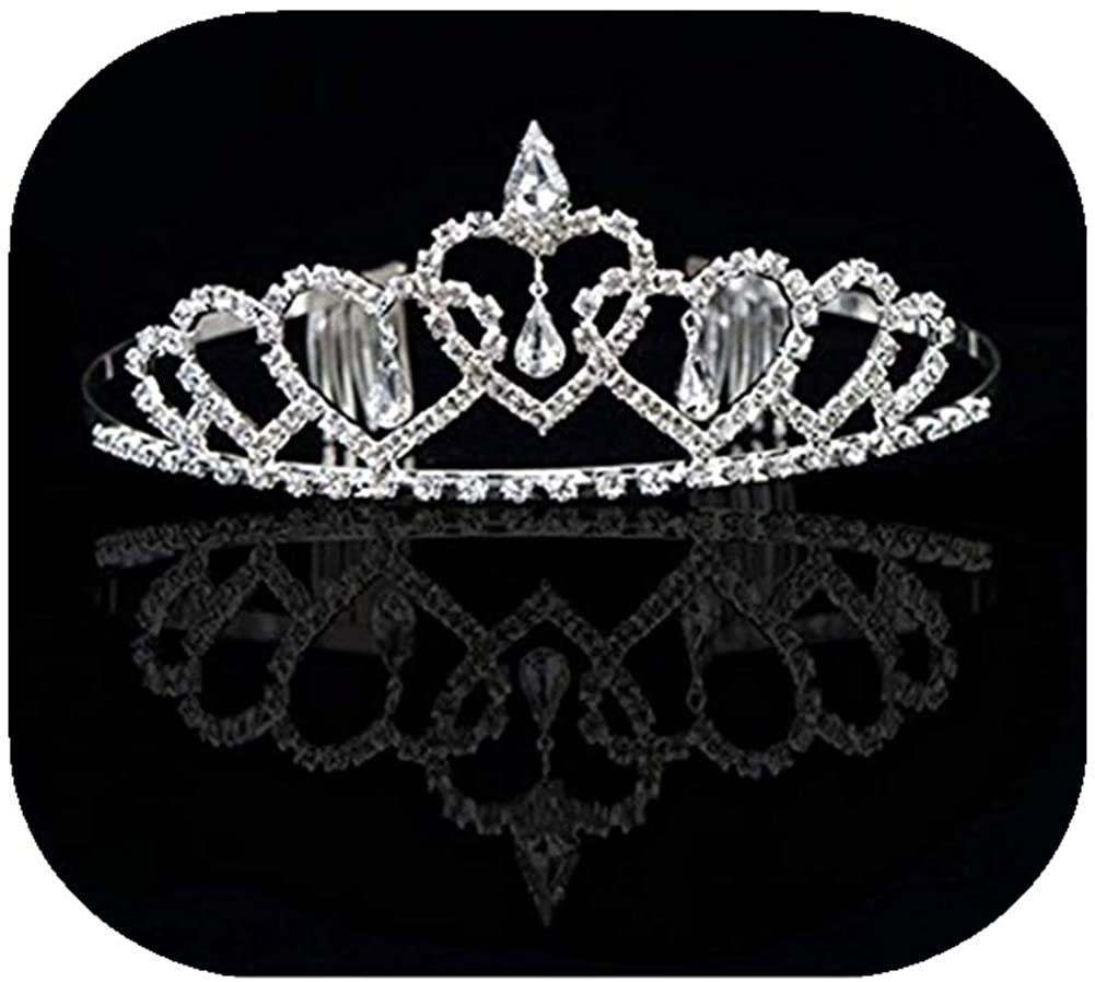 Vemonllas Crystal Rhinestone Wedding Party Flower Girl Hairband Kids Tiara Crown Headband Silver
