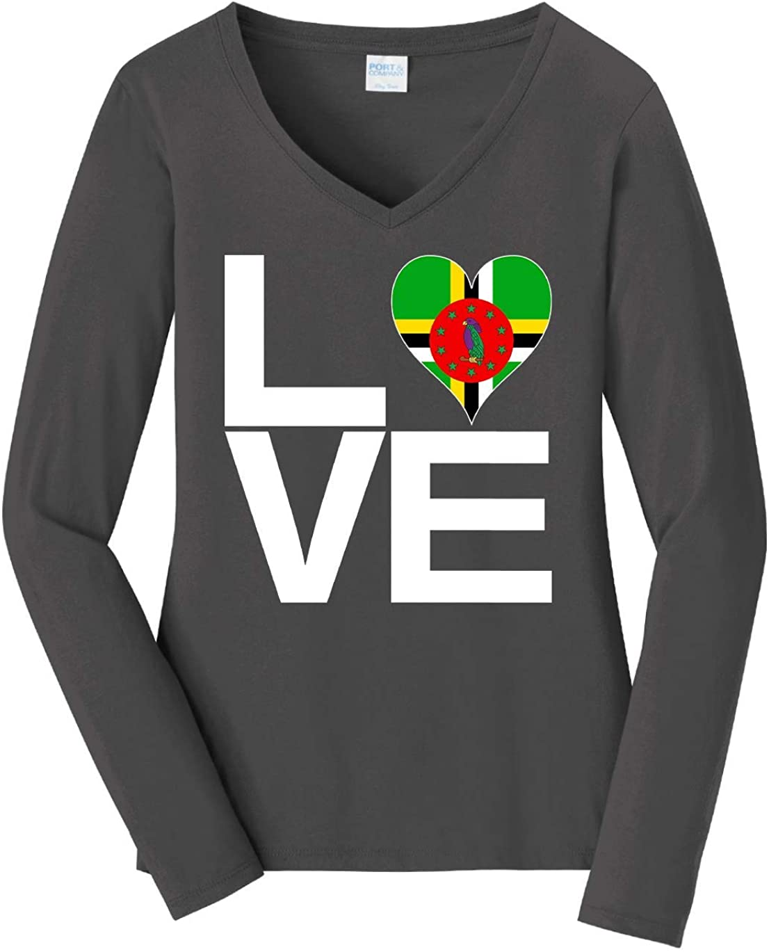 Tenacitee Women's Love Block Dominica Heart Long Sleeve T-Shirt