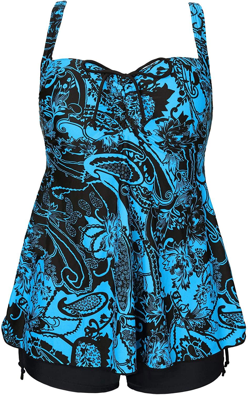 ANTSANG Womens Plus Size Swimsuits Swimwear Bathing Suit Two Piece Tankini Floral Print (Dark Blue & Black, US16 / 50)