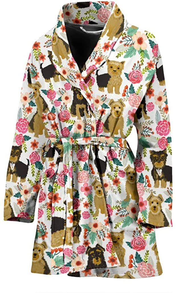 Cute Yorkshire Terrier Dog Floral Print Women's Bath Robe