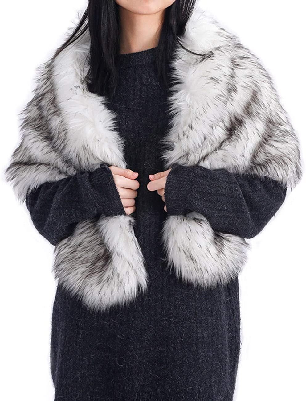 Artio Women's Faux Fur Wraps and Shawls Stole Shrug Winter Bridal Wedding Cape