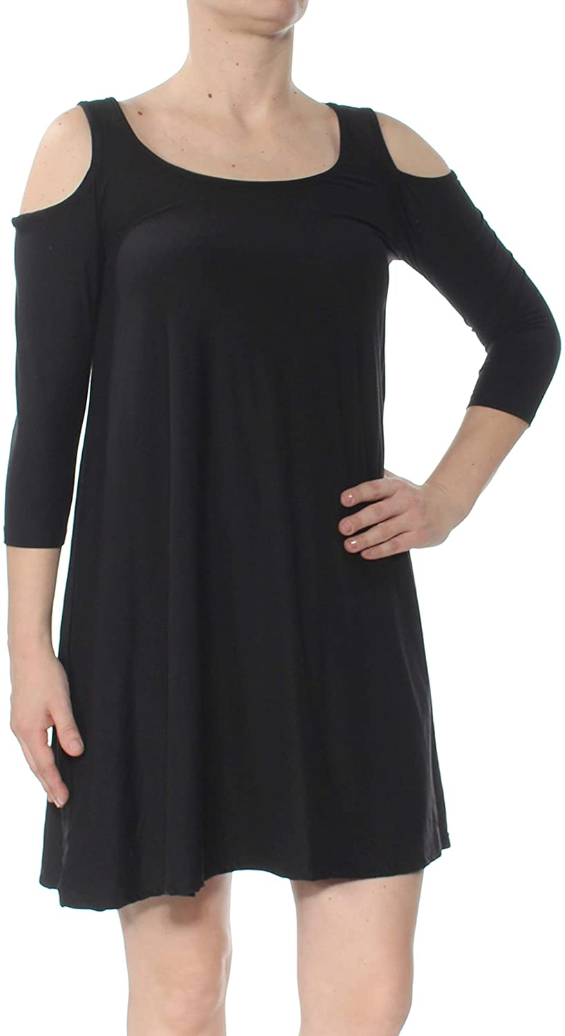Planet Gold Womens Cold Shoulder Scoop Neck Casual Dress