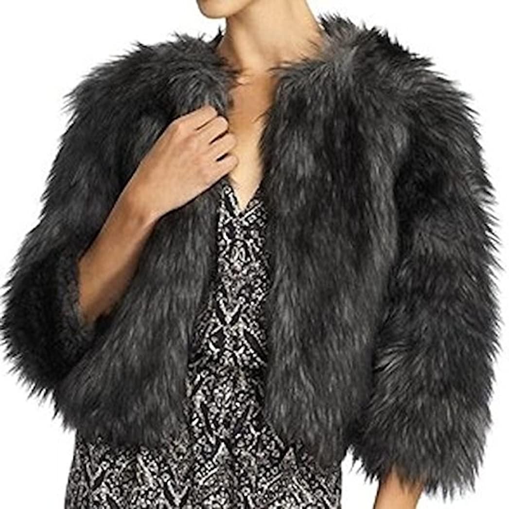 Michael Kors Faux Raccoon Crop Jacket Womens Coat Size Large Black