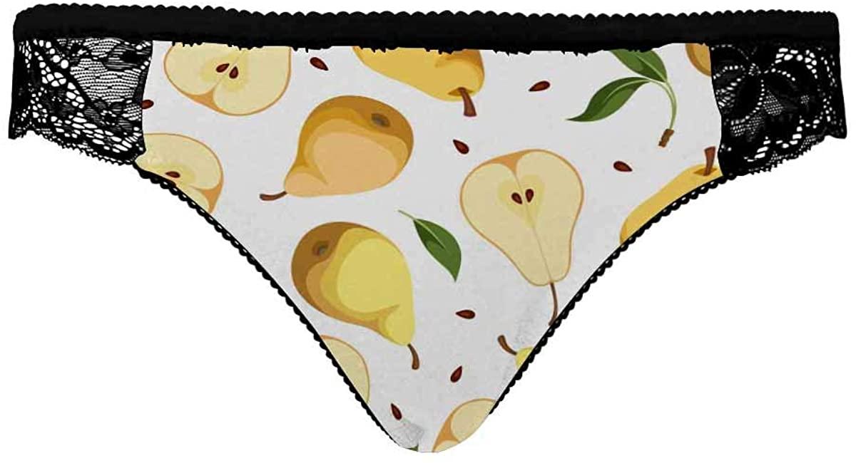 INTERESTPRINT Womens Low Waist Basic Bikini Panties Pears and Leaves