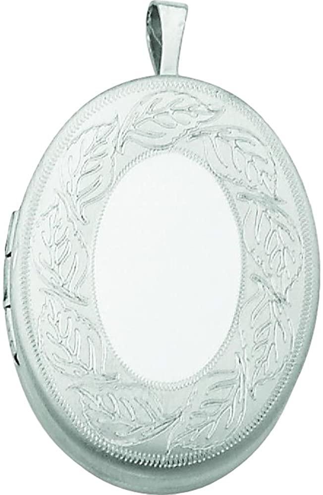 Sterling Silver 26mm Leaf Border Oval Locket Jewelry