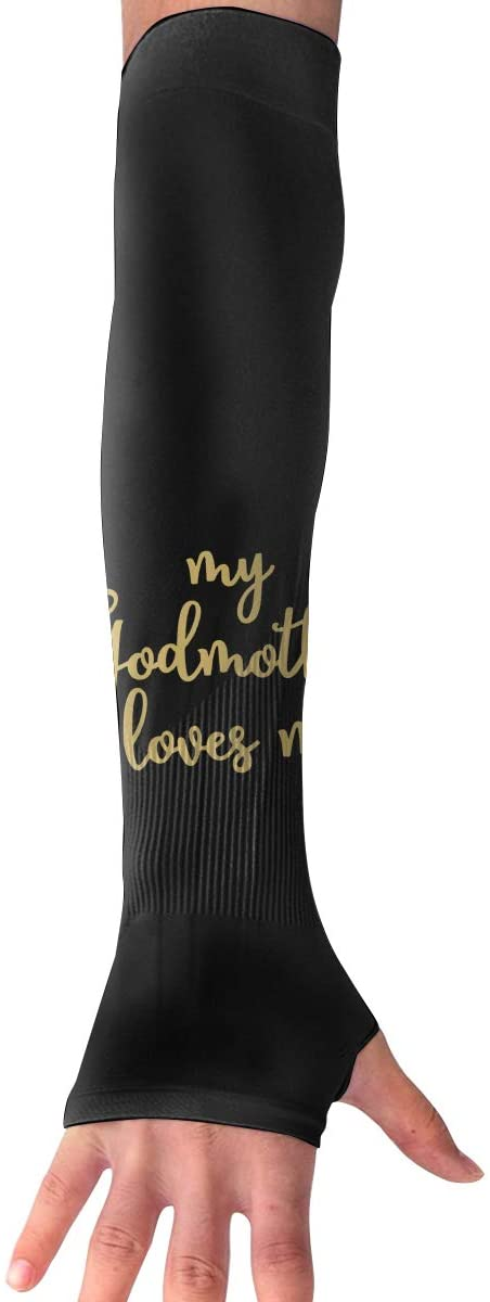WAY.MAY My Godmother Loves Me Sun Protection Sleeve Long Arm Fingerless Gloves Outdoor Sleeve