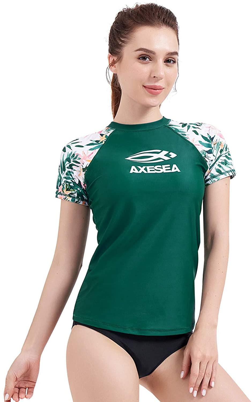 AXESEA Women's Rashguard Short Sleeve Rash Guard Swim Shirt UV Sun Protection Swimsuit Tops