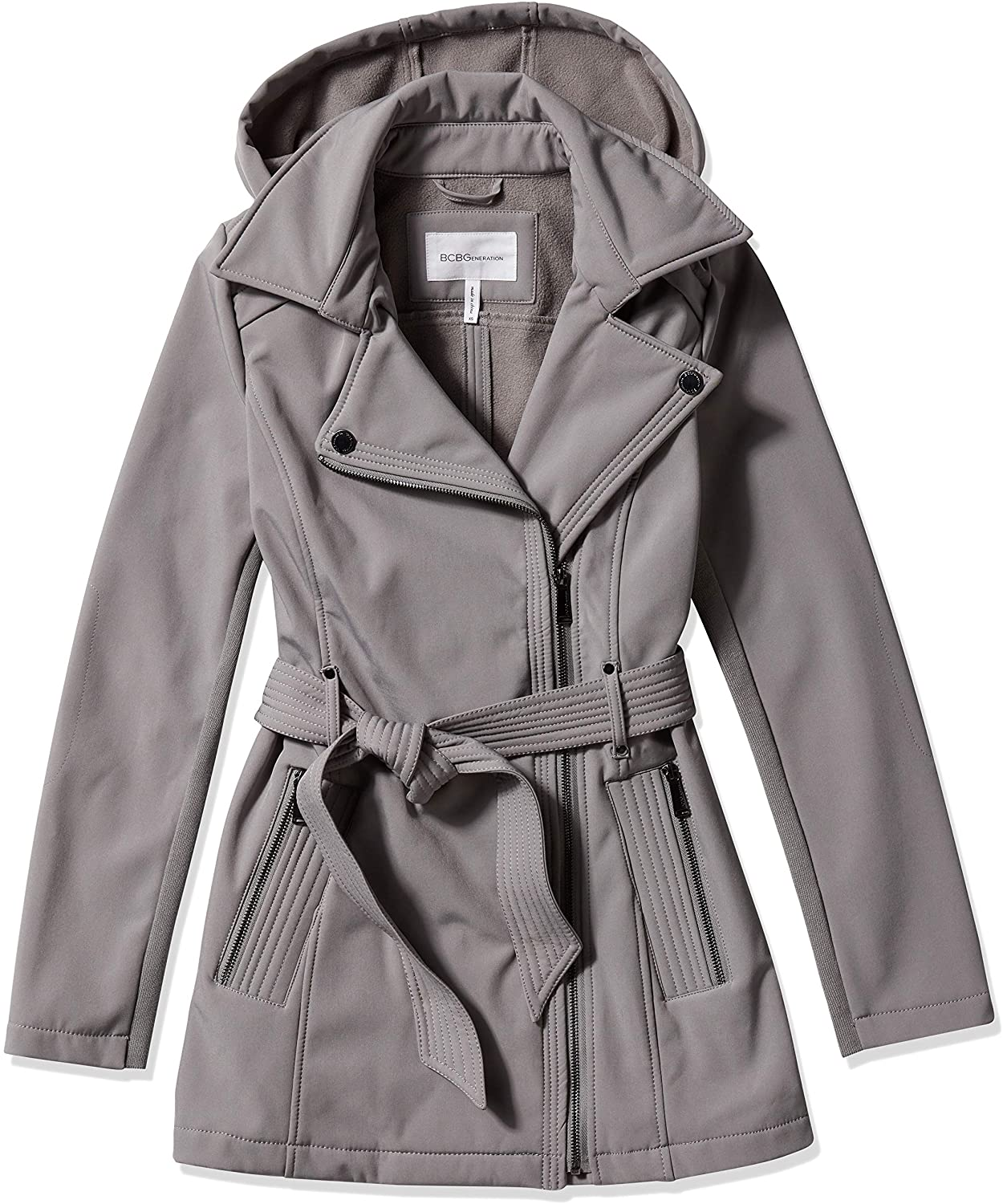 BCBGeneration Women's Asymmetrical Zip Belted Soft-Shell Coat with Hood