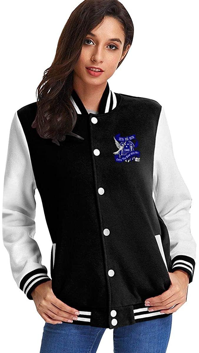 Zeta Phi Beta Coat Jacket Baseball Uniform Slim Fit Cashmere for Women