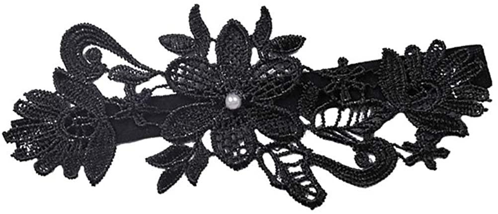 Amosfun Lace Wedding Garter Wedding Garter Belt Pearl Floral Garter for Bridal Women Ladies (Black)