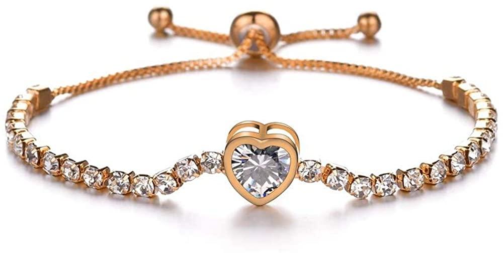 KSMA Fashion Adjustable Chain Bracelet for Women,Cubic Zirconia Bracelet for Women Gift