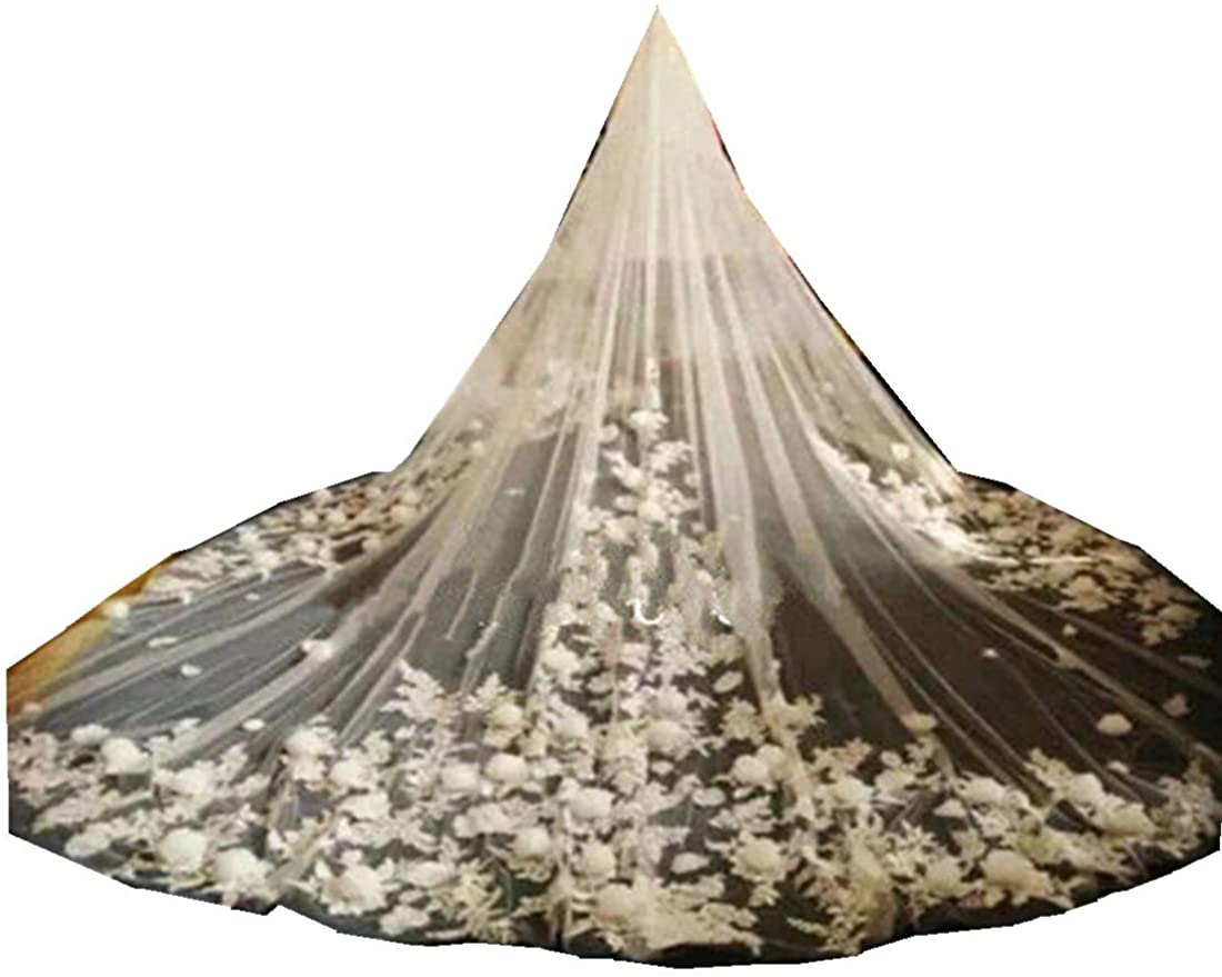 NewTrain Bridal Cathedral Veils 3D Floral Flowers Appliques With Comb Custom