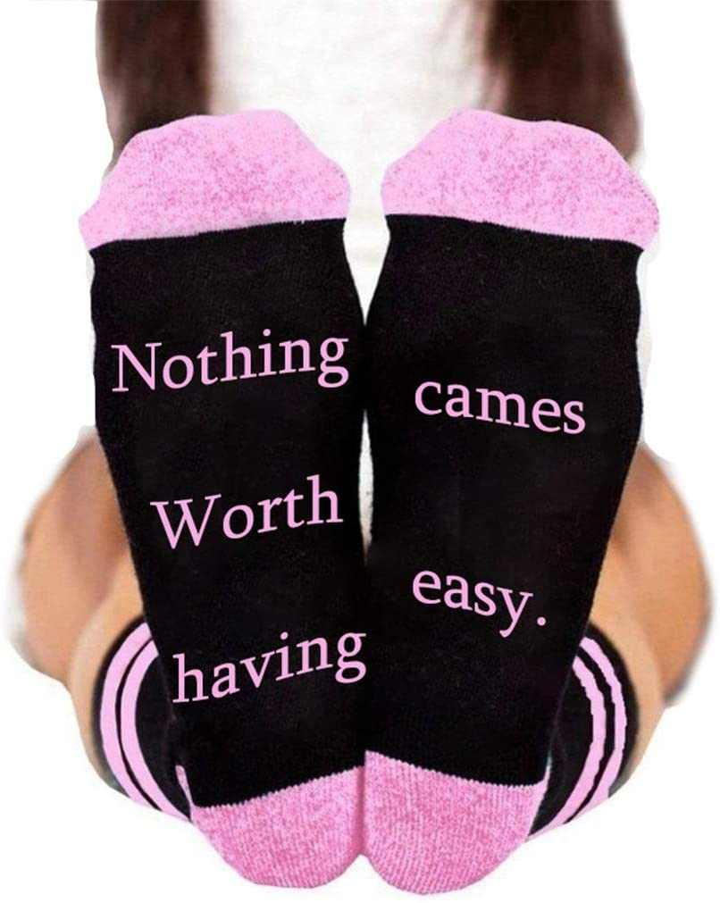 minansostey Unisex Funny Saying Stripes Socks Nothing Worth Having Cames Easy Letter Hosiery