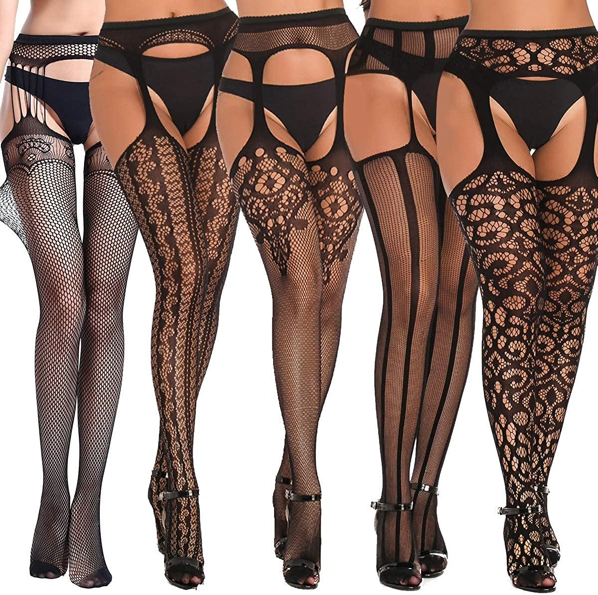 Womens Garter Belts And Stocking Sets Fishnet Thigh High Lingerie Sexy High Waisted Black 5 Pairs
