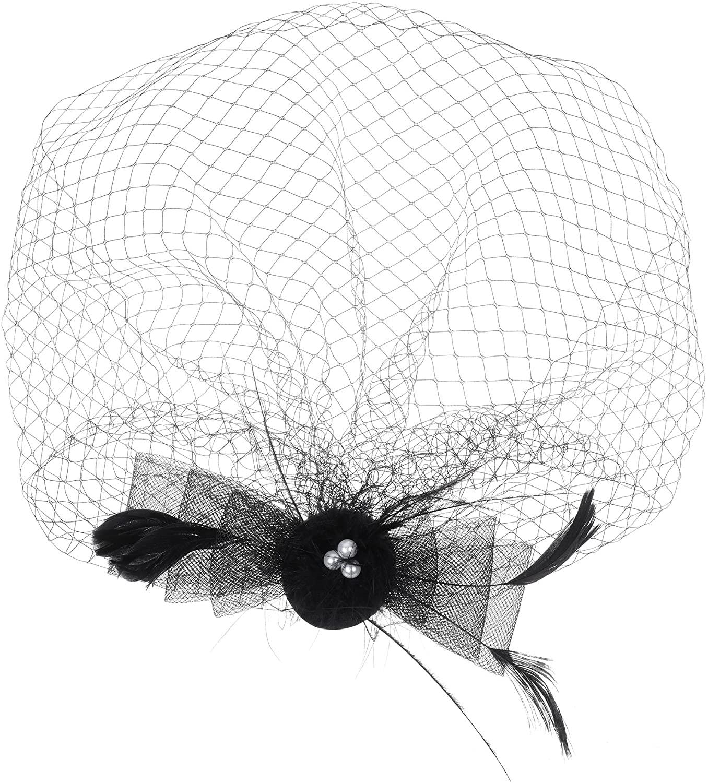 Beautyflier Bridal Feather Veil With Hair Clip Birdcage Women's Fascinator Veil (Black)