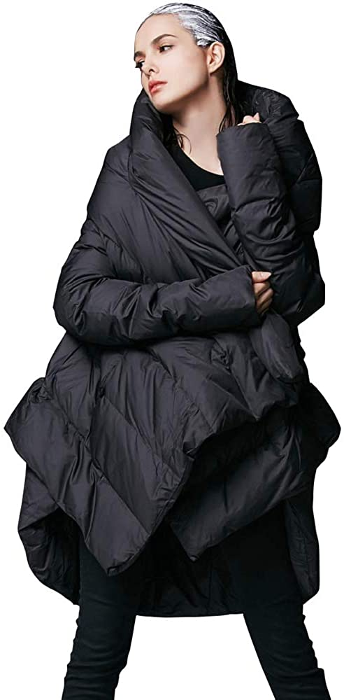 YVYVLOLO Women's Winter Down Coat Cloak Hooded Long Warm Jacket