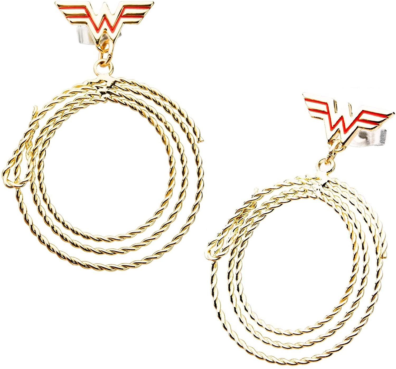 DC Comics Women's Base Metal & Gold Plated Wonder Woman Lasso Dangle with Steel Post Stud Earrings