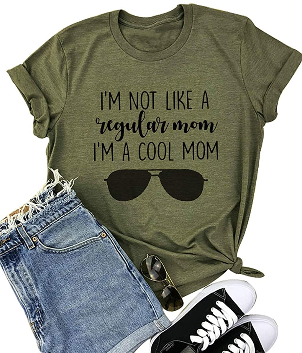 TAOHONG Mom Shirts with Sayings Women I'm A Cool Mom Shirts Mom Graphic Tee Funny Short Sleeve Summer Top Tee Gifts Shirt