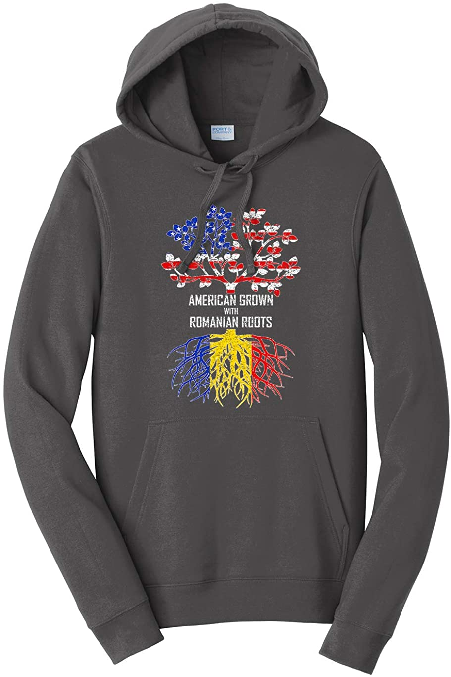 Tenacitee Unisex American Grown with Romanian Roots Hooded Sweatshirt