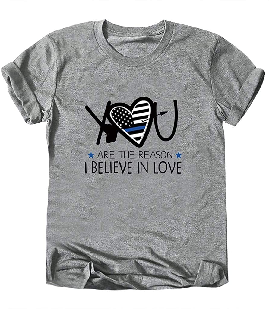 """Valentine's Day Theme Womens T-Shirt with Special """"You"""" Printed Shirt O-Neck Tops Short Sleeve Blouses"""